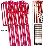100 Stück rote Absperrleinenhalter Ø14x1250mm inkl. 20 UvV-Reflex Sticker...