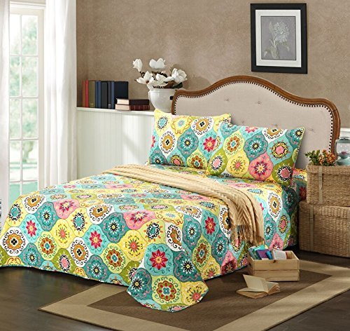 Tache Home Fashion SD3199-Cal King 3 Piece Geo Multi Spring Flower Reversible Bedspread Quilt Set, California King by Tache Home Fashion -