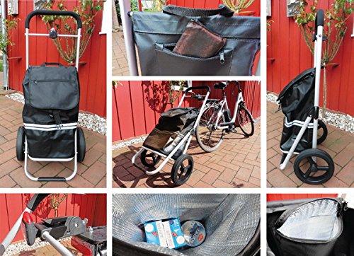 Fahrrad-Trolley Deluxe Aluminium-Einkaufstrolley Mit Fahrrad-Kupplung 40 Liter Einkaufs-Trolley Mit Integrierter 11,5 L Kühltasche / Extra Große leichtlaufende PU-Räder mit Vollgummiprofil 2435