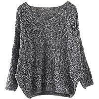 Suéter a Cuadros Para Mujer, LILICAT Prendas de Punto Talla Grande Anchas Cuello V, Jerséis Manga Larga (Gris oscuro, Un tamaño)