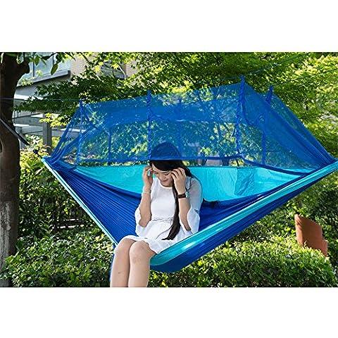 Portátil de alta resistencia paracaídas hamaca para colgar cama con mosquitera para Camping de viaje al aire libre, azul cielo