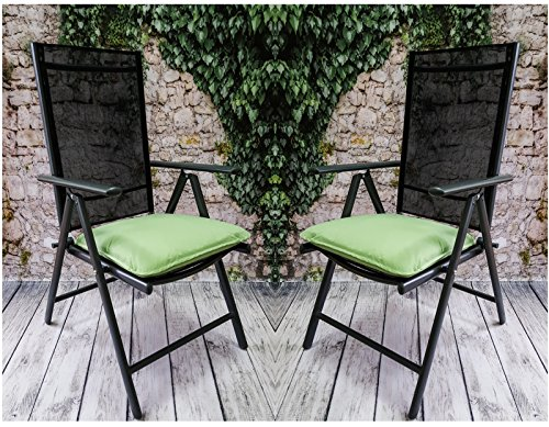 Bankauflage Auflage Sitzauflage Gartenbank Polster Kissen Stuhlkissen Bootkissen Sitzkissen Gartenkissen • Wasserabweisend • 14 verschiedene Modelle (Stuhlkissen Porto Cast. Hellgrün (Lime) 42,50x46,50cm) (X 14 Cast)