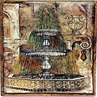 """Pompeya azulejo decorativo de cerámica antiguo fuente 6""""azulejos fabricado y decorado a mano en el Reino Unido."""