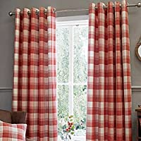 "Jacquard Tartan Check Terracotta Orange Lined 45"" X 90"" - 114cm X 229cm Ring Top Curtains by Curtains"