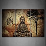 Religione Budda In Grotta Con Cinese fo Pittura di arte della parete La stampa su tela di canapa Religione Quadri d'illustrazione per l'ufficio domestico Decorazione moderna