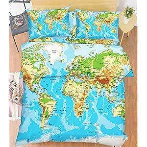 Juego de funda de edredón y funda de almohada 3D con diseño de mapamundi del mundo azul