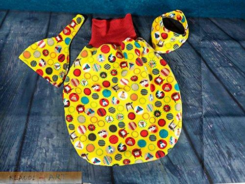 Pucksack mit Erstlingsmützchen und Babyhalstuch