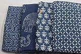 40Yard Mix Lot Indigo Stoff Baumwolle Hand Block Print