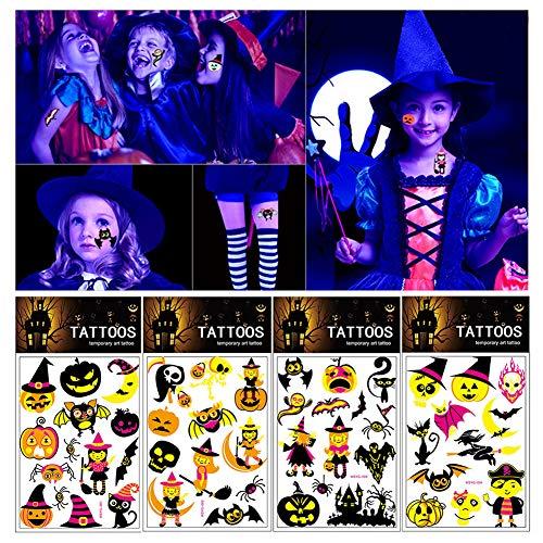 Yuccer Temporäre Tattoos Kinder, Halloween Tattoos Mädchen für Party Tattoos zum Aufkleben Auf Die Haut Kinder (4 PCS)