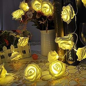 Con aletta 20LED con Rose Konstmide per festa di Natale matrimoni giardino esterno e di decorazione - (a batteria), giallo, taglia unica