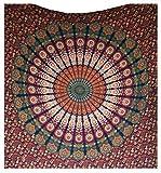 Raajsee Indisch Psychedelic Wandteppich Mandala Blau Rosa Twin 54x84 Inches/ Ein perfektes Geschenk / Elefant Boho Wandtuch Hippie,Mehrfarbige Wandbehang Mandala Decke Tuch / Groß Indien Baumwolle Bohemian Wandtucher (140 x 220 cm TWIN)