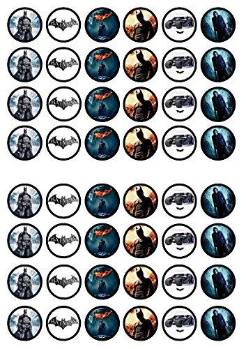 48 Batman, Essbare PREMIUM Dicke GEZUCKERTE Vanille, Reispapier Mini Cupcake Toppers, Cake Pops, Cookies für Wafer (Batman Cake Pops)