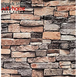 Arthome 31.53 Square Feet Distressed Marble Decorative Self-Adhesive Peel and Stick Wallpaper Décor (201-3)