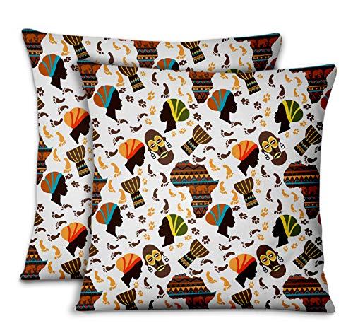 S4Sassy Bianca Popeline di Cotone Africano copridivano e Cuscini per la casacuscini Decorativi Cuscini per Il Divano Letto 2pezzi-16 x 16 Pollici