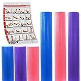 POWRX Yoga-Rolle/Pilates-Rolle/Schaumstoff-Rolle/Foam-Roller/Faszien-Training/Selbstmassagerolle 45 cm oder 90 cm x 15 cm Blau Lila Pink (Blau/90 x 15 cm)