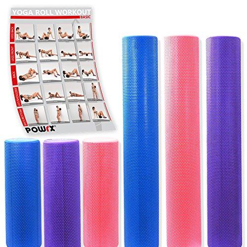 POWRX Yoga-Rolle/Pilates-Rolle/Schaumstoff-Rolle/Foam-Roller/Faszien-Training/Selbstmassagerolle 45 cm Oder 90 cm x 15 cm Blau Lila Pink (Lila/90 x 15 cm)