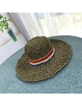 LVLIDAN Sombrero para el sol del verano Lady Anti-sol Gran cara ancha playa sombrero de paja hecho a mano verde...