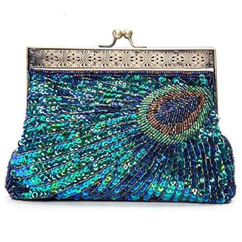 Perlen Pailletten-abend-geldbeutel (Lifewish Frauen einzigartige Luxus Sequins Perlen Abendtasche Hochzeit Braut Partei Prom Clutch Tasche Handtasche (blau))