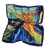 TIANLU Simulazione strettamente Sciarpa Sciarpa grande piazza sciarpa anacardi timbro di fiori di seta di emulazione, Van Gogh,90*90cm (Esportazione)