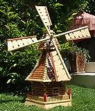XL Holzwindmühle,Windmühlen, mit Holzschindel - Dach imprägniert + kugelgelagert 1 m groß hellbraun braun hell + natur mit / ohne Solarbeleuchtung HOLZSCHINDEL aus Massivholz