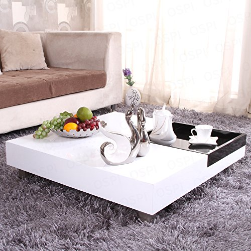 OSPI White Gloss Square Coffee Table /Low Table with Black storage Tea Tray L85xW85xH22cm