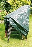 Rainexo Abdeckplane für Gartenmöbel/Wetterschutzhaube hochreißfest, Grün, für 4 stapelbare Sessel 0.65 x 1.15 x 0.68 m