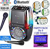 BLUETOOTH CD Player Karaoke, Classic 605 (2 M1CS + 8 CDs) Home Disco Party Light - CDG + Format (Connect TV to display song lyrics) Link Samsung Galaxy, iPhone, iPad, Sony Xperia (Black, Party Pack 3)