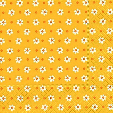 Cocktailservietten Kleine Blumen weiß auf gelb (Small flowers)