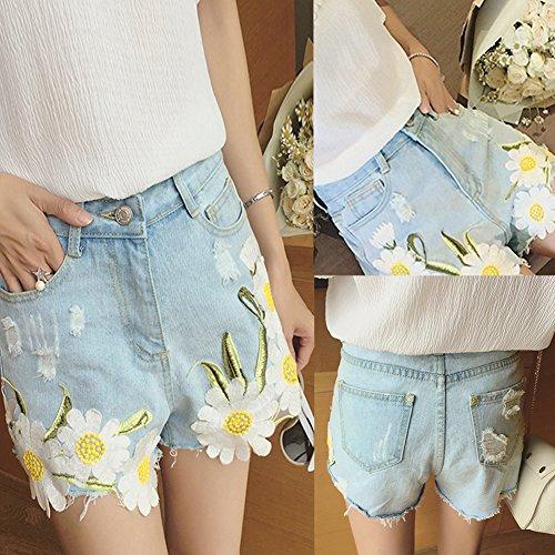 0f00ce5315bed4 ... iBaste Jeanshose Shorts Damen High Waist Denim Shorts Kurze Hose  Hotpants damen Jeans Hose Hell Blau ...