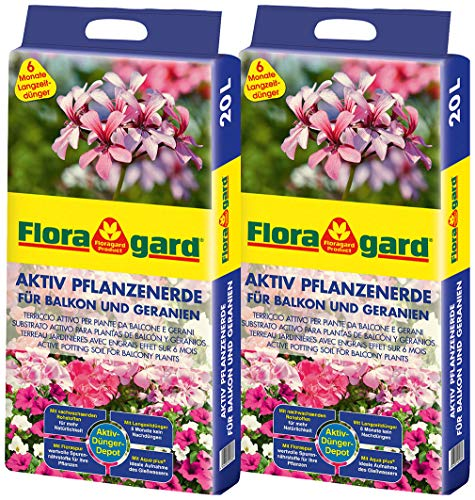 Floragard Aktiv Pflanzenerde für Balkon und Geranien 2x20 L - mit 6 Monate Langzeitdünger - 40 Liter