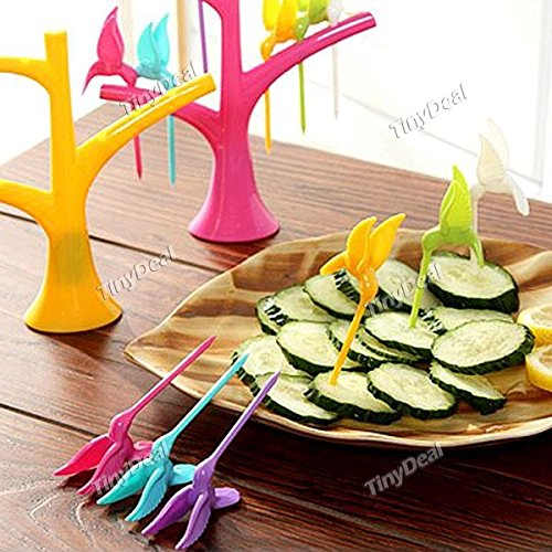 Tiny-Deal-6Pcs-Humming-Bird-Design-Fruit-Forks-With-Fork-Holder-Assorted