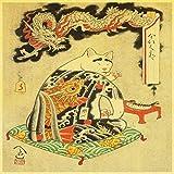 zxddzl Samurai Katze Tattoo Katze Retro Poster Aufkleber