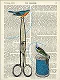 Posterlounge Alu Dibond 100 x 130 cm: Vintage Vögel auf Zeitungspapier von Nory Glory Prints