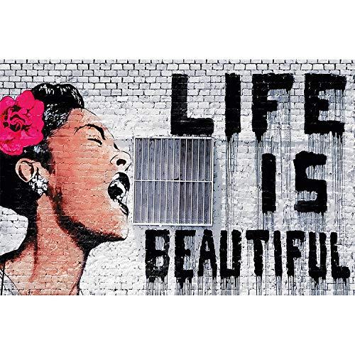 great-art XXL Poster - Graffiti Künstler Banksy Life is Beautiful - Wandbild Dekoration Foto Kunst Deko Pop Art Urban Street Style Street Art Stencil Motiv (140 x 100 cm) -