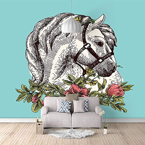 Fotomurali Elegante cavallo bianco3D Wall Murals Non-Woven Art Carta da Parati Immagine di Parete Decorativa per Camera da Letto Soggiorno 350x250cm
