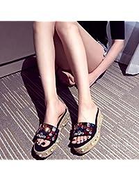 Zapatos Toeless diamantes perlas color suela gruesa esponja zapatillas un drag,36,negro