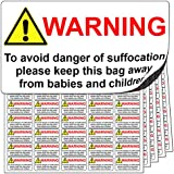 480x Official Safety Suffocation Warning Stickers for Plastic Bags. Premium Quality Labels With Ultra Strong Adhesive Bond. Free First Class Delivery