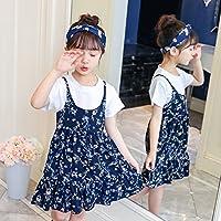 ZZ Summer Girl T-Shirt Skirt Falda Floral Traje,Azul Marino,120cm