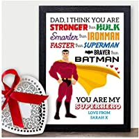 DADDY GRANDAD GIFT CHRISTMAS SUPERHERO Birthday UNCLE DAD Personalised Print - PERSONALISED with ANY NAME and ANY RECIPIENT - Black or White Framed A5, A4, A3 Prints or 18mm Wooden Blocks
