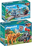 Playmo PLAYMOBIL® The Explorers 2er Set 9433 9434 Propellerboot mit Dinokäfig + Offroader mit Dino-Fangnetz