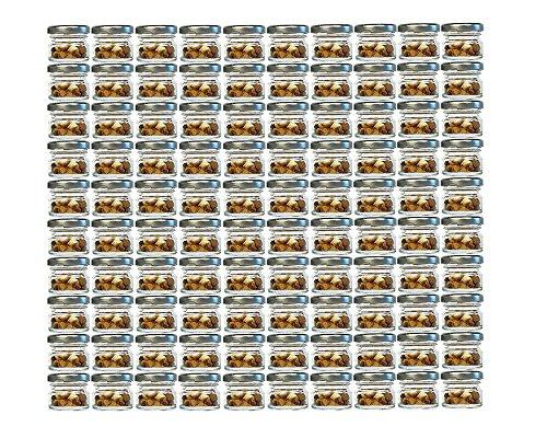 30 Ml Glas (100er Set Sturzgläser Mini Gläser | Füllmenge 30 ml | Deckelfarbe Silber | To 43 Rundgläser Marmeladengläser Obstgläser Einweckgläser Honig Gläser Einmachgläser Probiergläser, Imker)