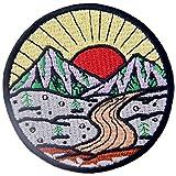 ZEGIN Aufnäher, bestickt, Design: Sonnenaufgang vom Berg, Erkunde Outdoor, zum Aufbügeln oder Aufnähen