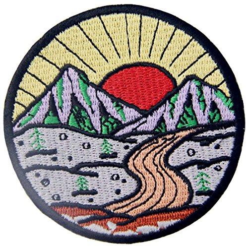(ZEGIN Aufnäher, bestickt, Design: Sonnenaufgang vom Berg, Erkunde Outdoor, zum Aufbügeln oder Aufnähen)