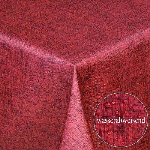 Tischdecke Wasserfest Wasserabweisend Gartentischdecke Tischtuch Stoff Textil Lotuseffekt Pflegeleicht und Abwaschbar| als Top Sonderpreis Sonderposten wegen Saisonwechsel| eckig 110x140 Rot