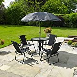 Kingfisher 6 Piece Patio Dining Set – 4 Seater Outdoor Garden Furniture with Glass Topped Table + 4 Folding Chairs + Parasol Umbrella for Decking or Balcony