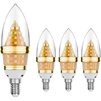Bombilla de luz LED EKSAVE E14, bombilla de candelabro LED de 12W E14, equivalente a bombillas ...