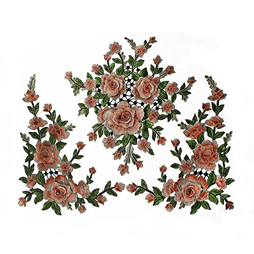 1set/3pieces 3d Fleur Broderie patchs en dentelle de mariage Applique Or métallique à coudre en relief Triming Craft Couture Accessoires Orange