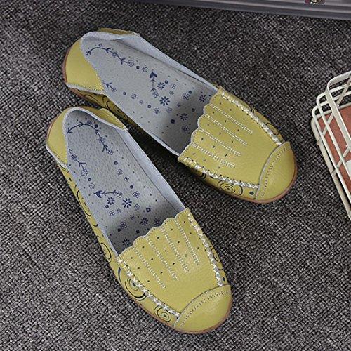 Jamicy Donna moda stampato casuale piatto traspirante Soft Bottom piselli barca scarpe Verde