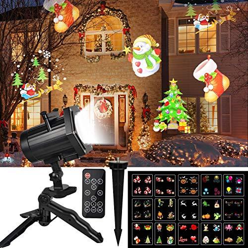 (LED Licht Projektor Außen, UNIFUN Animiert Weihnachtsbeleuchtung Wasserdichte LED Projektionslampe Weihnachten mit 15 Wechselbaren Musters RF Fernbedienung für Weihnachten Garten Party Halloween)