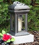 ♥ Grablampe mit Sockel und Grabkerze Keramik Silber Glas Kreuz Grabdekoration Grablaterne Grablicht Grabschmuck Grableuchte Lampe Licht